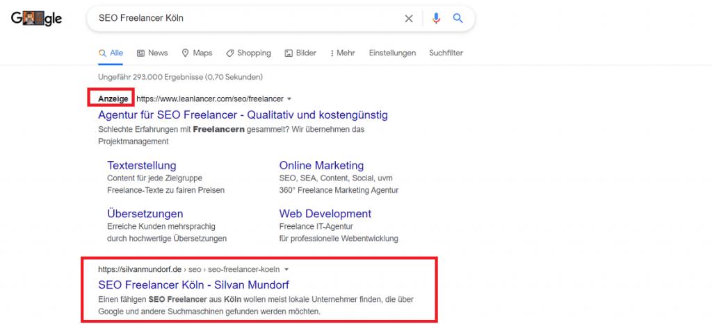 Screenshot Rankingfaktoren Google